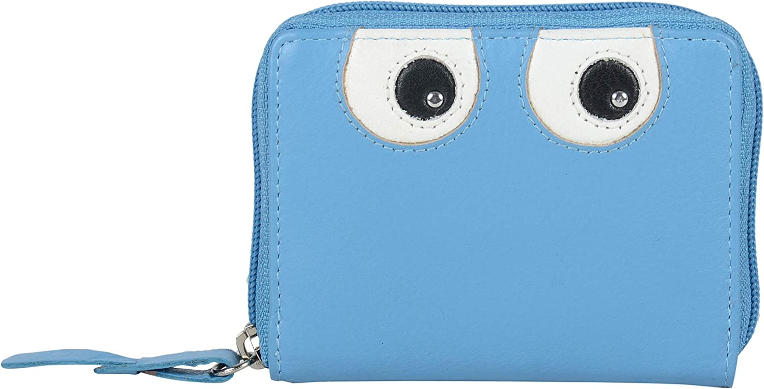 Tresori Women's Real Leather RFID Data Predected Zip Around Small Wallet