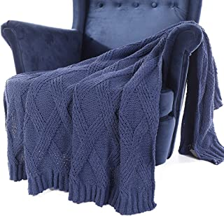 Battilo Diamond Cable Knit Chenille Throw Blanket for Couch Chair Sofa,Soft Cozy Home Decorative Blankets for All Seasons, 50 x 60 Inch (Blue)