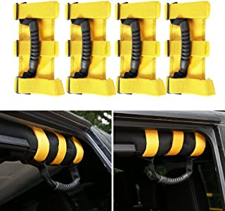 JeCar 4 x Heavy Duty Roll Bar Grab Handles for Jeep Wrangler 1955-2018 JK JL CJ YJ TJ Unlimited (Yellow)