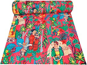 Mudit Crafts Cotton Kantha Quilt Bedspread Queen Indian Handmade Pink Frida Kahlo Print Throw Blanket Reversible Tradition...