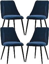 ZCXBHD 4 x flanelowe krzesła do jadalni zestaw skandynawski ergonomiczny design śniadanie kuchnia krzesła z czarnymi metal...