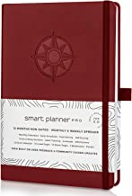 Planner 2019-2020 - Tested & Proven to Achieve Goals & Increase Productivity, Time Management & Happiness - Daily Weekly Monthly Planner with Gratitude Journal, Hardcover, Undated (Red)