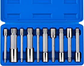 """Neiko 10054A XZN Triple Square Spline Bit Socket Set, Extra Long 4"""" Length, 4mm to 18mm 
