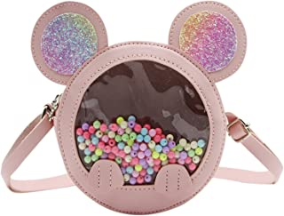 Little Girls Crossbody Bag Clear Colorful Beaded Shoulder Bag Coin Wallet Handbag with Sequin Mouse Ear for Kids Toddlers