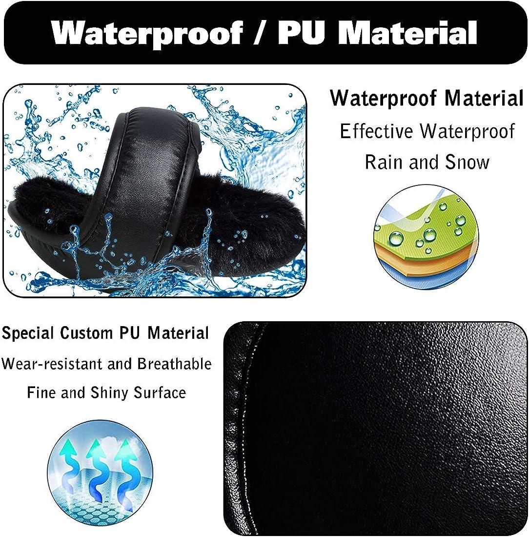 Men's Waterproof Ear Warmers Unisex Fleece Earmuffs Adjustable Ear Muffs Behind Head
