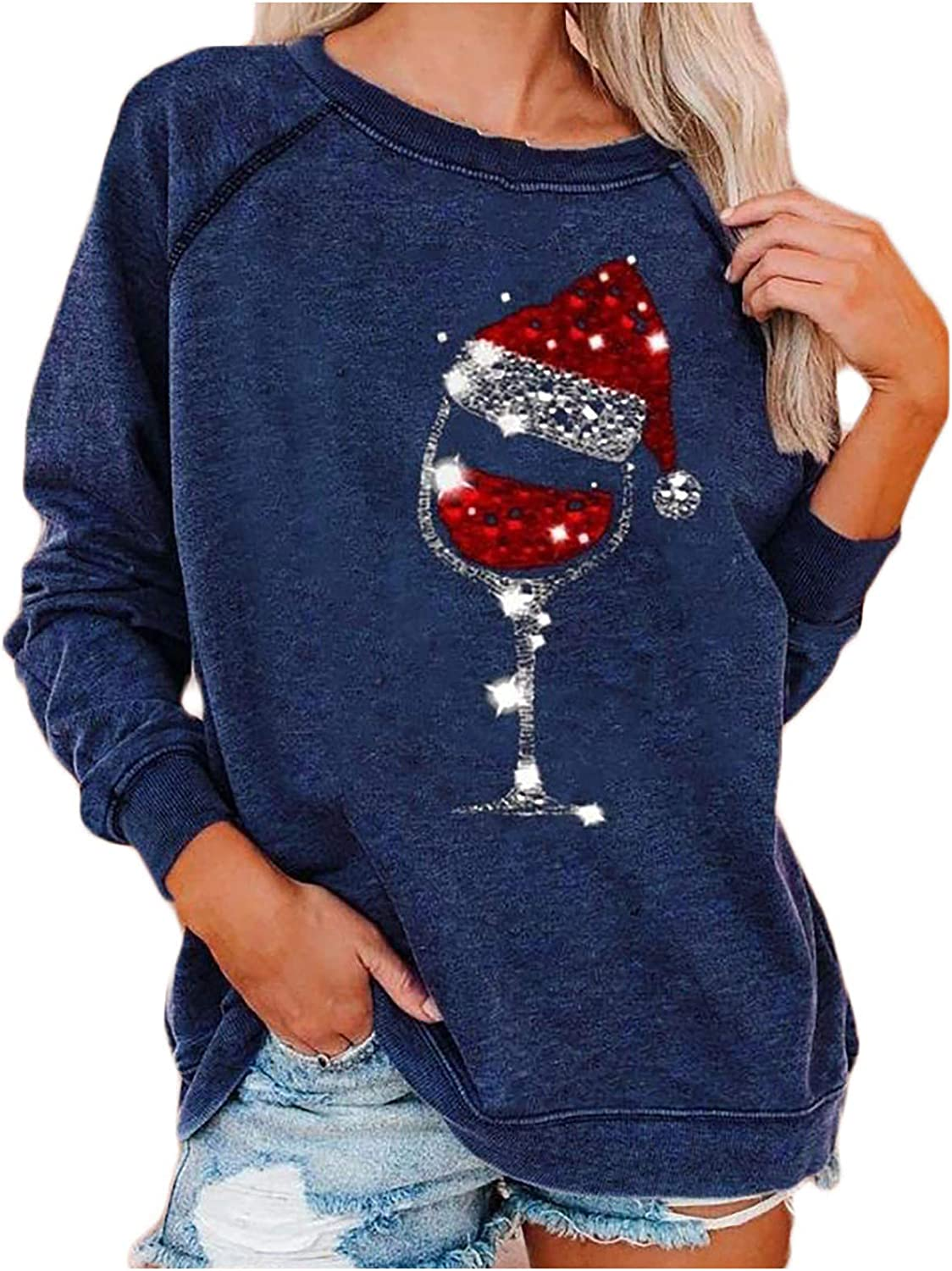 Women's Slouchy Sweatshirt Christmas Red Wine Glass Print Pullover Tops Fall Winter Long Sleeve Round Neck Shirt Blouse
