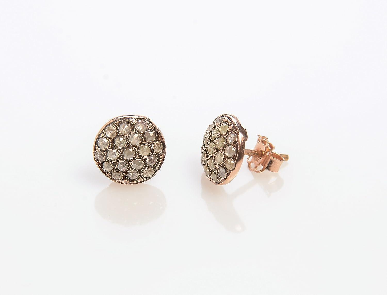 Stud List price Earrings with Diamonds in Bargain Rose Artisan Gold 14K Handmade