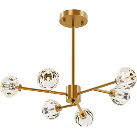 Amazon Com Seol Light Retro Brass Sputnik Crystal Ball Shade Semi Close To Ceiling Light Flush Mounted Branches Chandeliers Polished Gold With 6 Light 240w Small Size 22 Dia Home Improvement