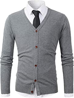 Beninos Mens Casual Slim Fit Basic Designed Button Down V-Neck Cardigan