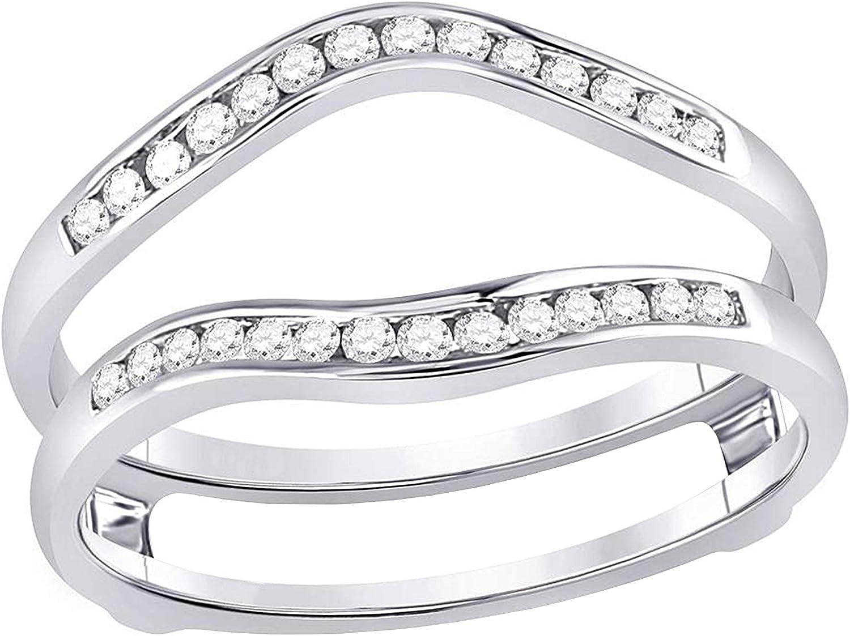 Dazzlingrock Collection 0.25 Carat (Ctw) Round Diamond Ring Guard Wrap Solitaire Enhancer 1/4 Ctw, 14k White Gold