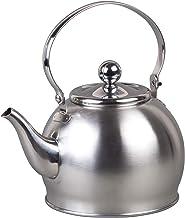 غلاية شاي كريتيف هوم رويال من الفولاذ المقاوم للصدأ مع سلة قابلة للفك ومقبض قابل للطي، 4.4 لتر