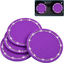 Bling Car Coasters, Wisdompro 4 Pack PVC Car Cup Holder Insert Coaster - Anti Slip Universal VehicleInterior Accessories Crystal Glitter Cup Mats for Women and Men (2.75