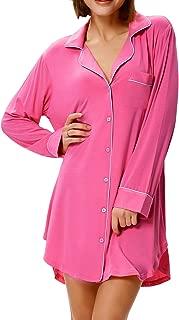 Zexxxy Women's Boyfriend Pajama Top Elastic Notch Collar Nightshirt