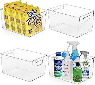 KAZIPA Lot de 4 bacs de rangement en plastique transparent – Idéal pour organiser et ranger la cuisine, le garde-manger, l...
