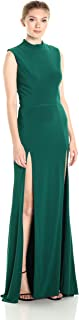 Women's Long Dress with Mock Neck and Split Front Carwash Skirt