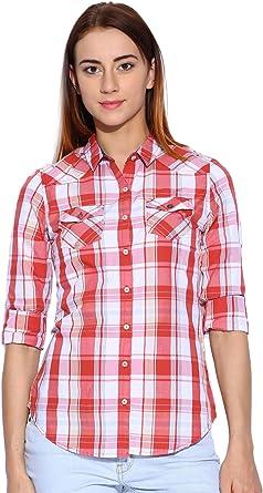 Rojo y Blanco de la Mujer Camisa a Cuadros: Amazon.es: Ropa