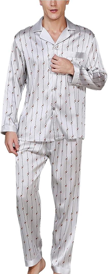 Pijamas para Hombre 95% Conjuntos De Ropa De Dormir De Seda ...