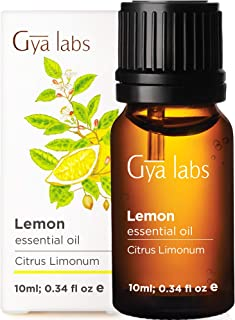 Gya Labs Lemon Essential Oil - Mood Lifter for Healthier Skin & Cleaner Homes (10ml) - 100% Pure Natural Therapeutic Grade...