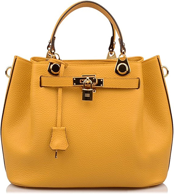 Padlock Handbags Bucket Shoulder Handbags Purse Crossbody Bag Yellow