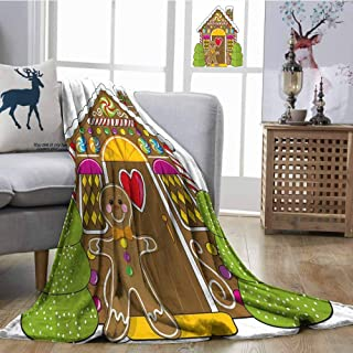 SONGDAYONE Decorative Blanket Gingerbread Man Travel Blanket Cute Gingerbread House Decorated with Colorful Candies Man Graphic Figure Multicolor W60 xL80