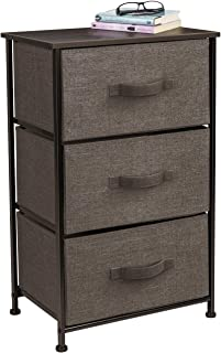 Sorbus Nightstand with 3 Drawers - Bedside Furniture & Accent End Table Storage Tower for Home, Bedroom Accessories, Office, College Dorm, Steel Frame, Wood Top, Easy Pull Fabric Bins (Brown)