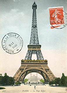 Eiffel Tower Paris Postcard Decorative Decoupage Vintage Style Paper Poster Print