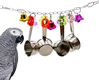Bird Cage Toys Cup Spoon Delight Parrot Toy for African Grey Conure Cockatiel Quality Product Handmade in The USA