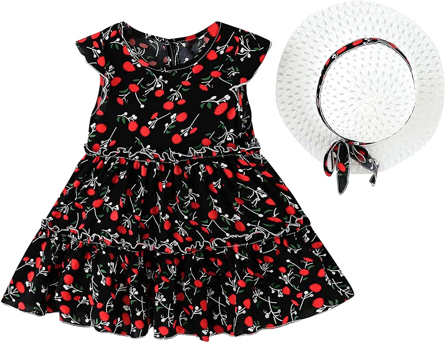 Toddler Kids Baby Girls Dress Summer Vest Small Floral Sweet Cake Skirt + Hat Holiday Outfits Set
