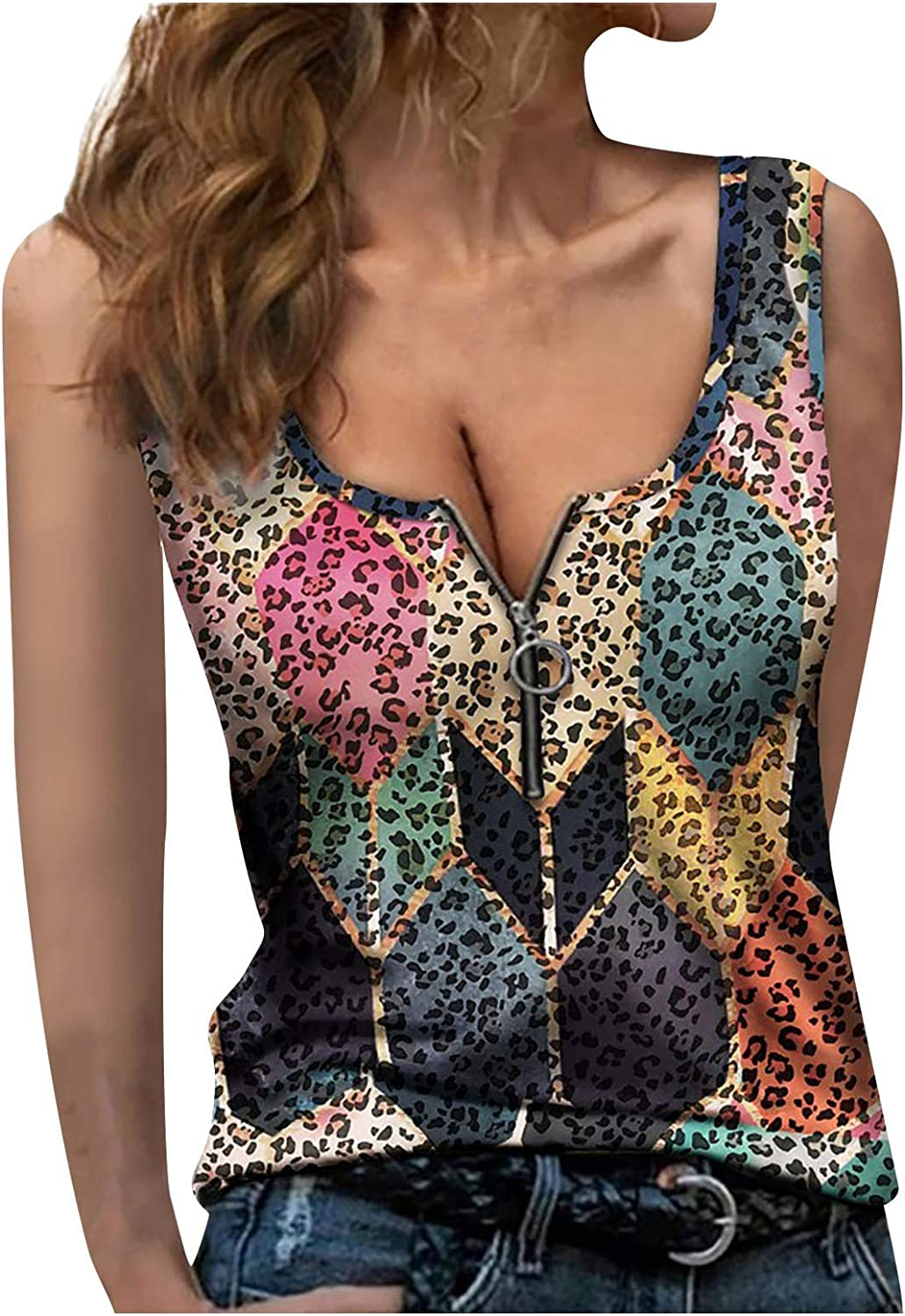 Tops for Women Casual Summer, Women Printed Zipper Stitched Leopard Sleeveless Vest Fashionable Tops