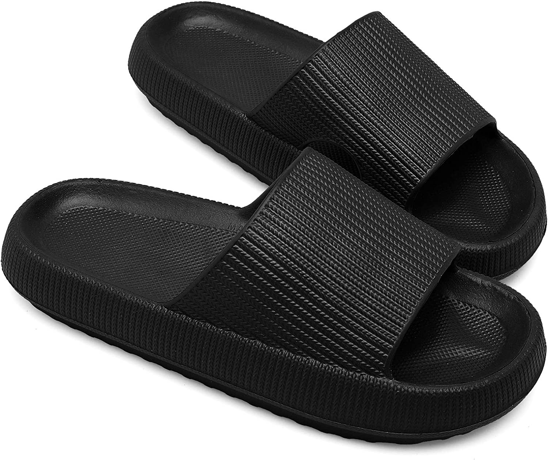 Pillow Slippers for Women Unisex Platform Home Bathroom Spa Massage Foam Shower Slide Sandals