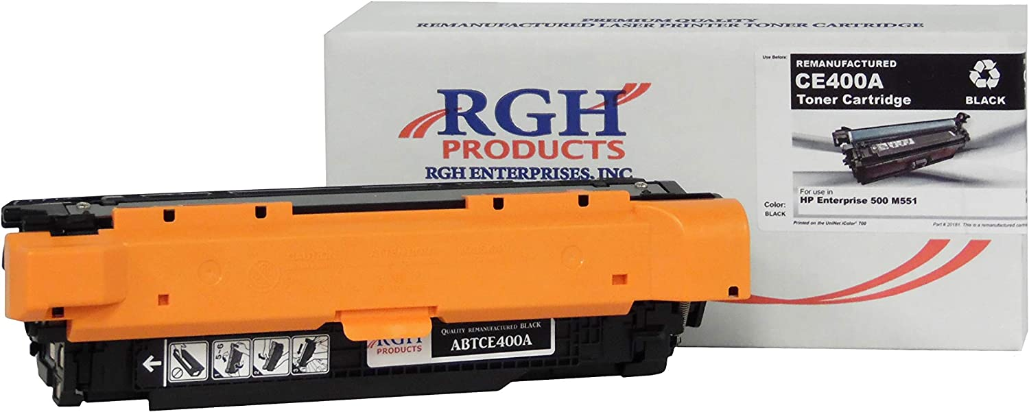 RGH Products Remanufactured Toner Cartridge ABTCE400A Tray Toner Cartridge Replacement for HP CE400A Printer Black