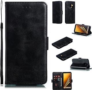 Telefon Plånbok Väska för Samsung Galaxy A8 2018 / A5 2018, Premium vintage PU Läder plånboksfall med kickstand wristband ...