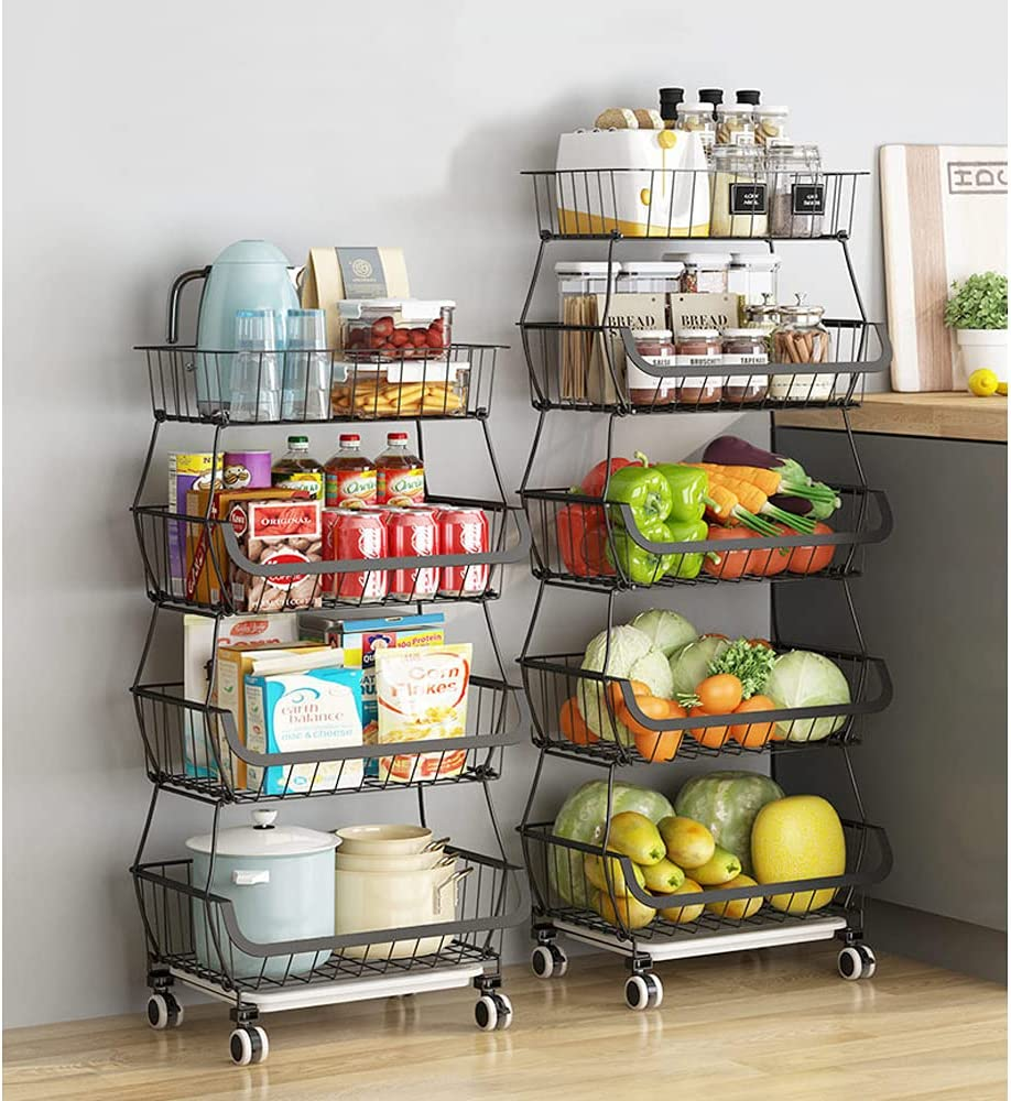 Peniogar 4 Tier Ranking integrated 1st place Some reservation Metal Kitchen Basket Storage on Stackable Wheels