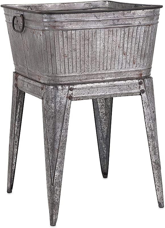 Benzara Multi Functional Galvanized Metal Tub Gray