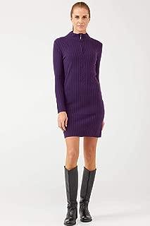 Yarım Fermuarlı Kısa Kadın Triko Elbise - Mor