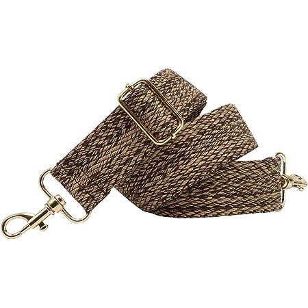 BENAVA Taschengurt Schulterriemen Braun Beige Karo Verstellbar Baumwolle 40mm Karabiner Farbe Gold – Stilvolles Accessoire für Taschen Handtaschen