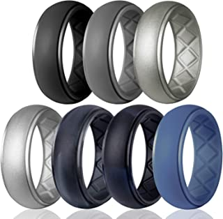Silicone Wedding Ring for Men, Particularly Breathable Mens' Rubber Wedding Bands, Size 8 9 10 11 12 13, for Athletes Crossfit Workout