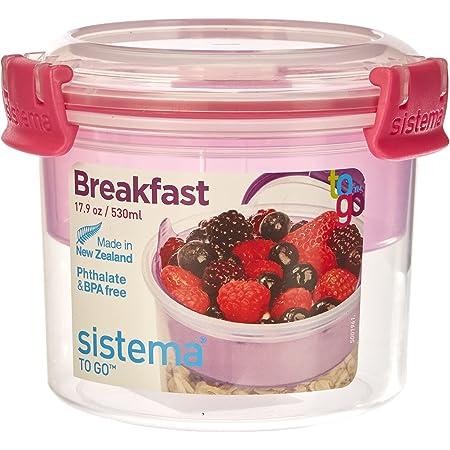 Sistema Go Breakfast-17.9 oz / 530 ml, Pink, 11.4 x 11.4 x 9.6 cm