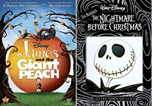 The Nightmare Before Christmas DVD & James and the Giant Peach Tim Burton Disney Animated Movie Set Bundle