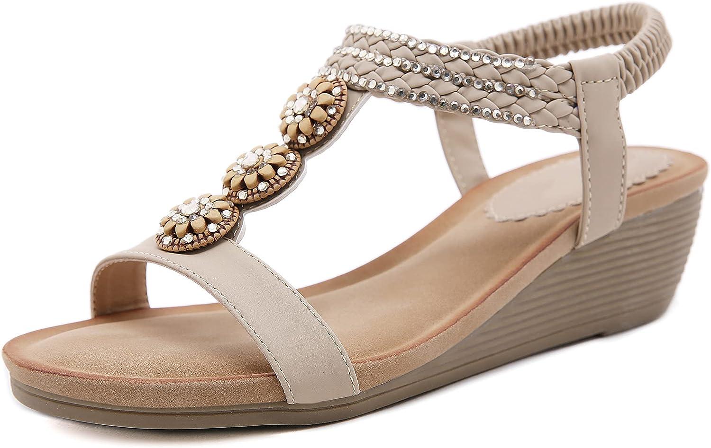 Solacozy Women Wedge Sandals Casual Flip Flops Summer Bohemian Beaded Platform Sandals Breathable Open Toe Elastic Band Dress Sandals Comfy Elastic Slingback T-Strap Mid Heeled Beach Sandals