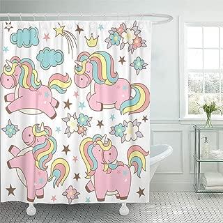 Emvency Waterproof Shower Curtain with Hooks Pink Anime Cute Magic Collection Kawaii Unicorns Stars Clouds Flowers Crown of Cartoon Japanese Asian 72