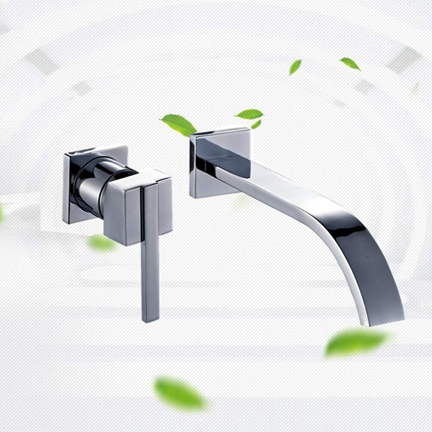 Joeyhome Wall Faucet Mixer Crane Hot and Cold Water Waterfall Bathroom Sink Faucet Chrome Finished