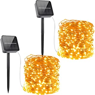 Solar Powered String Lights,Solar Fairy Lights,10 Meters/ 33Ft 100LEDS / 8 Modes,Waterproof Copper Wire Lighting for Indoor,Outdoor,Wedding,Patio,Home,Garden Decoration[2 Pack]Warm White (Warm White)