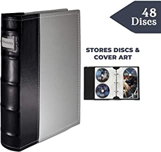 DVD Storage Binder, Gray- CD/DVD Case Stores Up to 48 DVDs, CDs, or Blu-Rays - DVD Holder Sheets Store Cover Art - Acid-Free Sheets