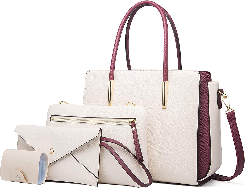 OLOEY Handbags for Women Large Shoulder Bag Ladies Crossbody Bag Pu Leather 4pcs Purse Set