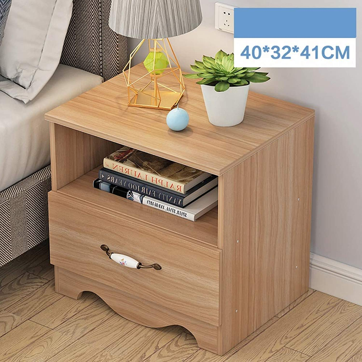 Coffee Table Bedside Table, with 1 Drawer Diversified Storage One-Piece Cabinet Feet Simple Side Cabinet, Student Dormitory Study (color   Shallow Walnut color)