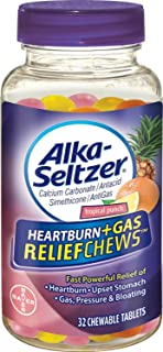 Alka-Seltzer Heartburn + Gas ReliefChews Chewable Tablets, Tropical Punch 32 ea (Pack of 5)