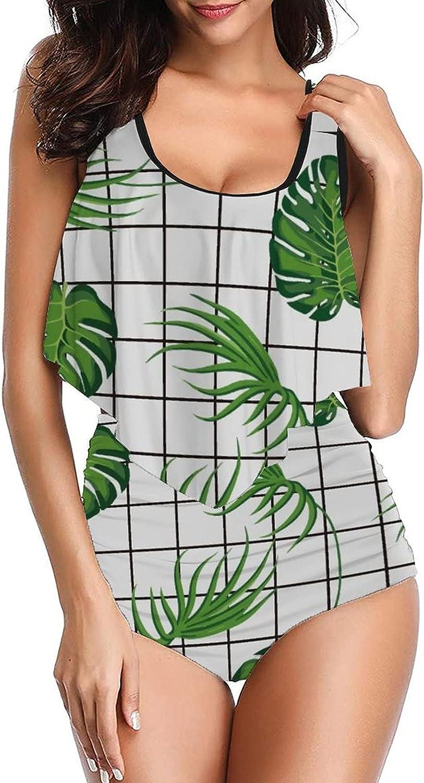 PotteLove Women's Tropical Plants-74 Swimsuits Design Tankinis top with High Waist Bottom Bikini Set Two Piece Bathing Suit