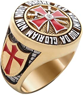UNIQABLE Knight Templar Masonic Ring 18k Gold PLD Red Cross Yellow Version 40 Gr Handcrafted BR-7
