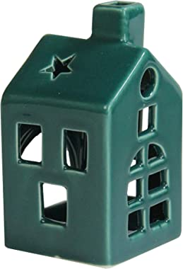 Northlight 4.5 Dark Green Tea Light House Mini Flameless Christmas Candle Holder